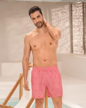 pantaloneta corta de bano para hombre elaborada con pet reciclado-339- Rosado Anclas-MainImage