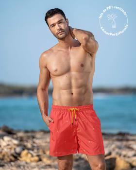 pantaloneta corta de bano para hombre elaborada con pet reciclado-372- Naranja Bordado-MainImage
