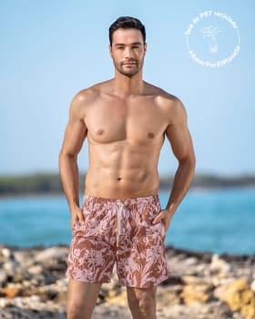 pantaloneta corta de bano para hombre elaborada con pet reciclado-811- Estampado Hojas-MainImage