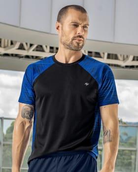 camiseta deportiva masculina de rapido secado con bloques de color-700- Black-MainImage