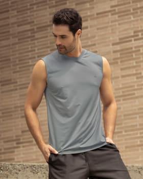 camiseta manga sisa deportiva y de secado rapido para hombre-737- Gris Claro-ImagenPrincipal