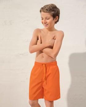 pantaloneta de bano para nino elaborada con botellas de pet recicladas-260- Naranja-ImagenPrincipal