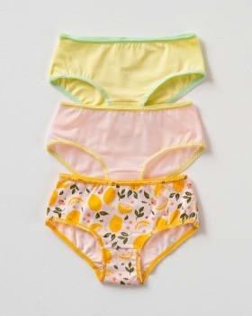 3-pack girls classic stretch cotton panties-S20- Fondo Rosa / Verde Claro / Rosa Claro-MainImage