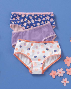 3-pack girls classic stretch cotton panties-S21- Fondo Blanco / Fondo Azul / Morado-MainImage