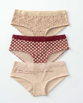 3 hip hugger panties in cotton-S42- Rosado Estampado / Rosado / Rojo Estampado-MainImage
