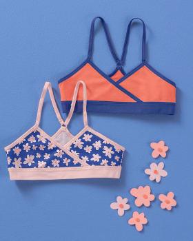 2-pack girls first crop bra - racerback style-S02- Fondo Azul / Fondo Naranja-MainImage