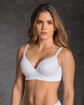lace full cup triangle bra - powerslim technology-000- White-MainImage