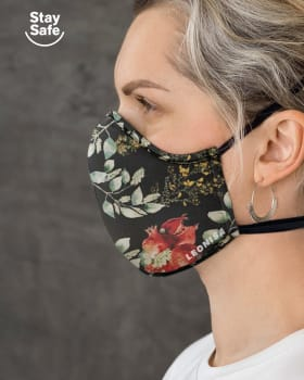 airtight triple-layered face mask with anti-fluid and antibacterial technology - unisex-701- Estampado Flores-MainImage