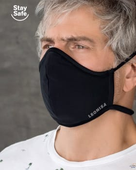 airtight triple-layered face mask with anti-fluid and antibacterial technology - unisex-713- Black-MainImage
