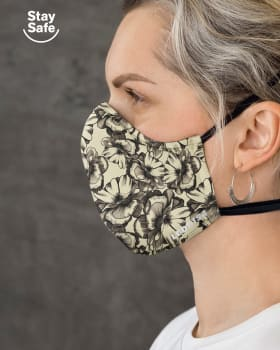 airtight triple-layered face mask with anti-fluid and antibacterial technology - unisex-812- Beige Floral-MainImage