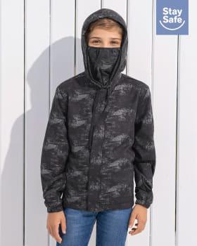 chaqueta infantil antifluido con mascarilla removible-145- Negro Estampado-ImagenPrincipal