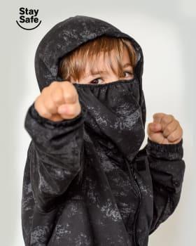 chaqueta infantil antifluido con tapabocas removible-145- Negro Estampado-ImagenPrincipal