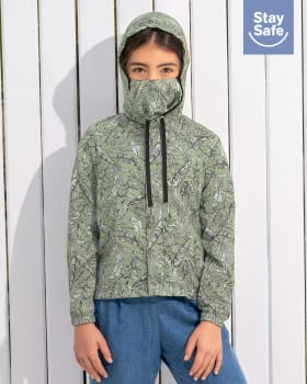 anti-fluid jacket for children with removable face mask - suitable for pandemic-662- Printed Green-MainImage