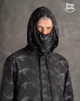 mens anti-fluid jacket with removable face mask - suitable for pandemic-145- Negro Estampado-MainImage