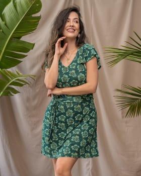 vestido corto cuello en v con boleros en mangas-145- Verde Est-ImagenPrincipal