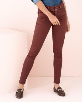 solid color butt lifter skinny khaki jean-221- Terracota-MainImage