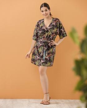 vestido manga corta abotonable con tira para anudar en cintura-145- Est. Negro-ImagenPrincipal