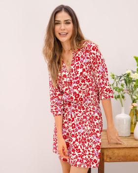 vestido corto abotonable con estampado de flores-191- Est. Rojo-ImagenPrincipal