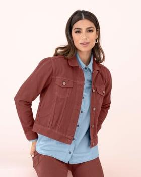 chaqueta manga larga silueta semiajustada con bolsillos decorativos-221- Terracota-ImagenPrincipal
