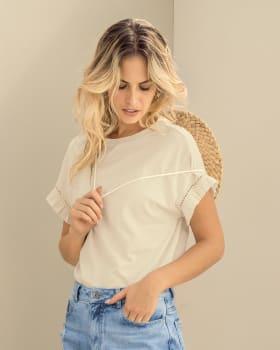 camiseta manga corta elaborada en tela ecologica reciclada-018- Marfil-MainImage