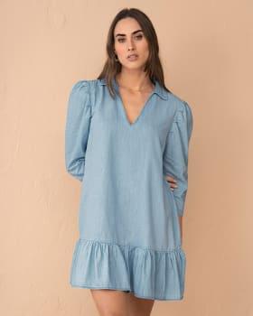 vestido corto con mangas con volumen y bolero en el ruedo-141- Indigo-ImagenPrincipal