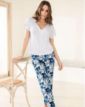 pantalon de pijama largo estampado enresortado en cintura-517- Azul Est-MainImage