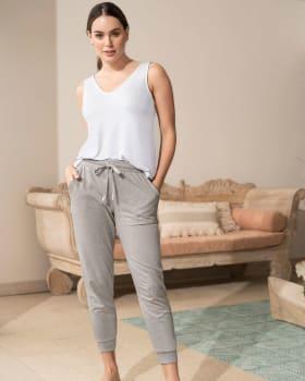 pantalon largo de pijama bolsillos funcionales-732- Gris Jaspe-MainImage