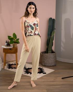 pantalon largo de pijama con tira ajustable y bolsillos laterales-805- Beige-ImagenPrincipal
