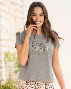 camiseta manga corta de pijama para mujer con bolero en hombros-732- Gris Jaspe-MainImage