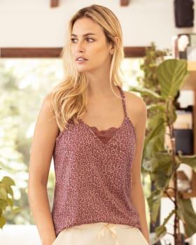camiseta de pijama de tiritas con encaje en escote y espalda-145- Estampado Animal Print-MainImage