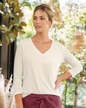 camiseta manga larga de pijama cuello en v semiprofundo para mujer--ImagenPrincipal
