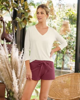 short corto de pijama con tira para anudar en cintura silueta semiajustada-867- Vinotinto Jaspe-MainImage