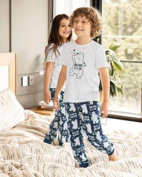 conjunto de pijama infantil camiseta manga corta y pantalon-013- Estampado Azul-MainImage