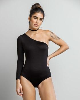 close-fitting one-sleeve bodysuit-700- Black-MainImage