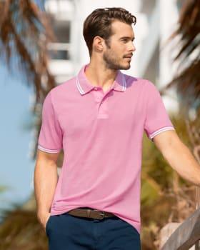 camiseta tipo polo con cuello y mangas tejidos-301- Rosado-MainImage