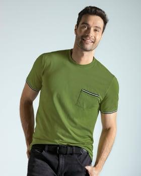 camiseta manga corta con punos tejidos-198- Verde Pradera-MainImage