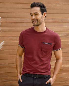 camiseta manga corta con punos tejidos-320- Vinotinto-MainImage