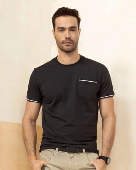 camiseta manga corta con punos tejidos-700- Negro-MainImage