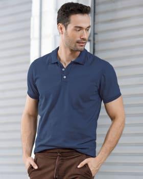 camiseta tipo polo con tejido en cuello y mangas-085- Azul Medio-MainImage