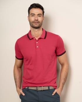 camiseta tipo polo con tejido en cuello y mangas-279- Coral-MainImage
