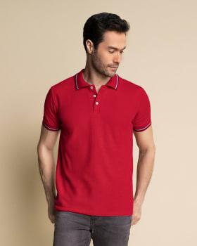 blusa tipo polo con tejido en cuello y mangas-309- Rojo Oscuro-MainImage
