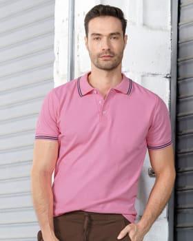 camiseta tipo polo con tejido en cuello y mangas-368- Rosado-MainImage