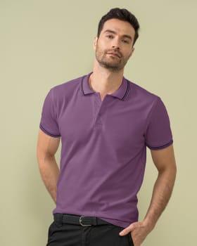 camiseta tipo polo con tejido en cuello y mangas-406- Morado Medio-MainImage