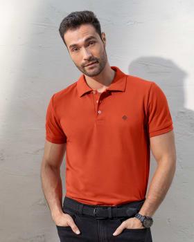 camiseta tipo polo con estampado en el frente en poliester y algodon-221- Terracota-MainImage