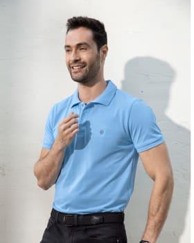 camiseta tipo polo con estampado en el frente en poliester y algodon-511- Azul Claro-MainImage