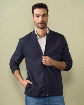 chaqueta de silueta amplia con cierre frontal y bolsillos funcionales-457- Azul Oscuro-MainImage