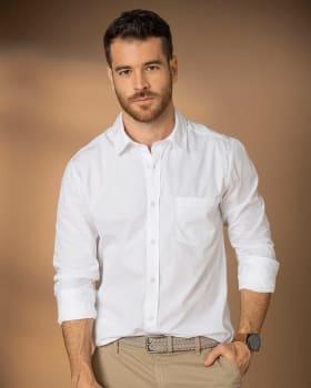 camisa manga larga silueta semiajustada para hombre--MainImage
