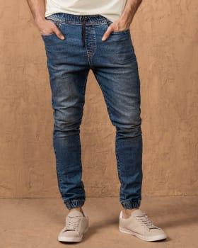 pantalon jogger para hombre con elastico en cintura y tobillos-141- Indigo-MainImage