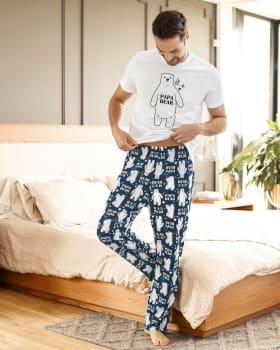 pantalon largo de pijama para hombre - algodon-012- Estampado Azul-MainImage