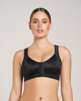 doctor-recommended post-surgical wireless bra with front closure-700- Black-MainImage